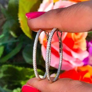 10 karat white gold diamond hoops .50cttw